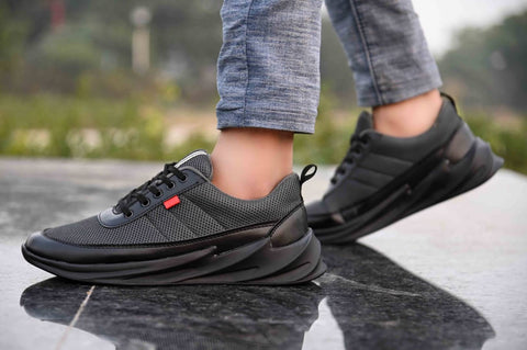 Men's Stylish and Trendy Grey Solid Synthetic Casual Sports Shoes