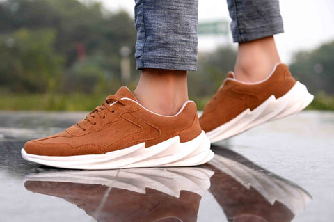 Men's Stylish and Trendy Tan Solid Synthetic Casual Sports Shoes