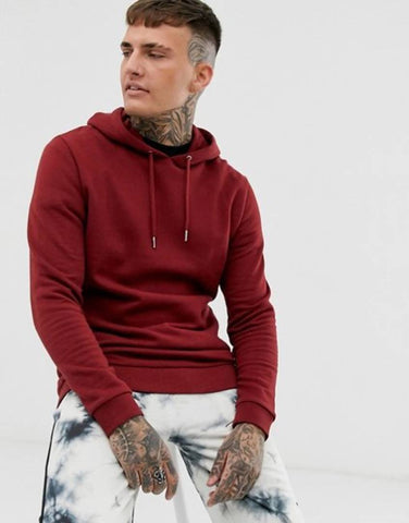 Stylish Maroon Cotton Solid Hoodie For Men