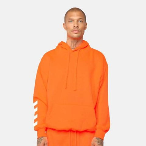 Stylish Orange Cotton Solid Hoodie For Men