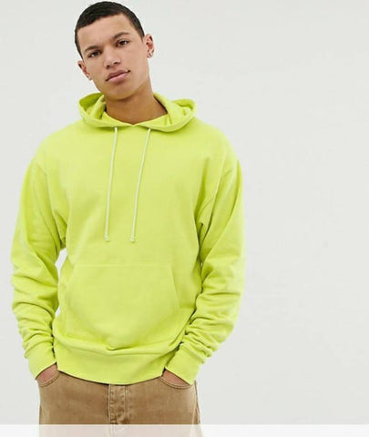 Stylish Green Cotton Solid Hoodie For Men