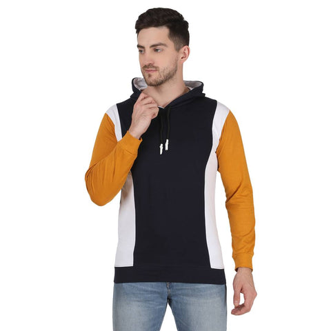 Stylish Cotton Colorblock Casual Hoodie T-Shirt For Men (Navy Blue, Mustard)