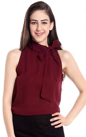 Stylish Crepe Maroon Solid Sleeveless Top