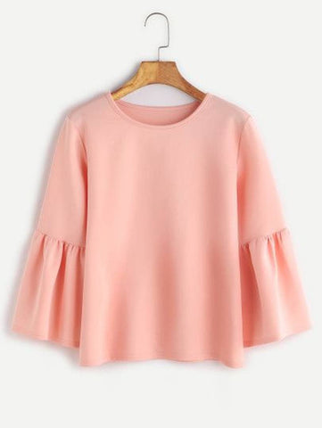 Trendy Pink Crepe Solid Tops For Women
