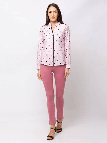 Pink Printed Cotton Blouse Top