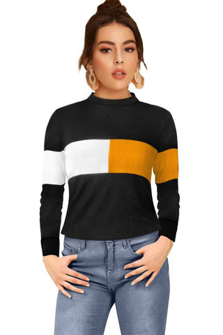 Elegant Yellow Cotton Hosiery Colourblocked Crop Top For Women