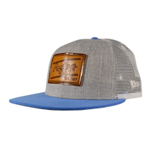 Load image into Gallery viewer, Rawlings Leather Patch Snapback Hat - Grey/Light Blue