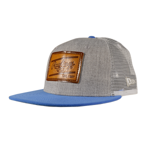 Rawlings Leather Patch Snapback Hat - Grey/Light Blue