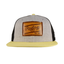Load image into Gallery viewer, Rawlings Leather Patch Snapback Hat - Grey/Soft Yellow