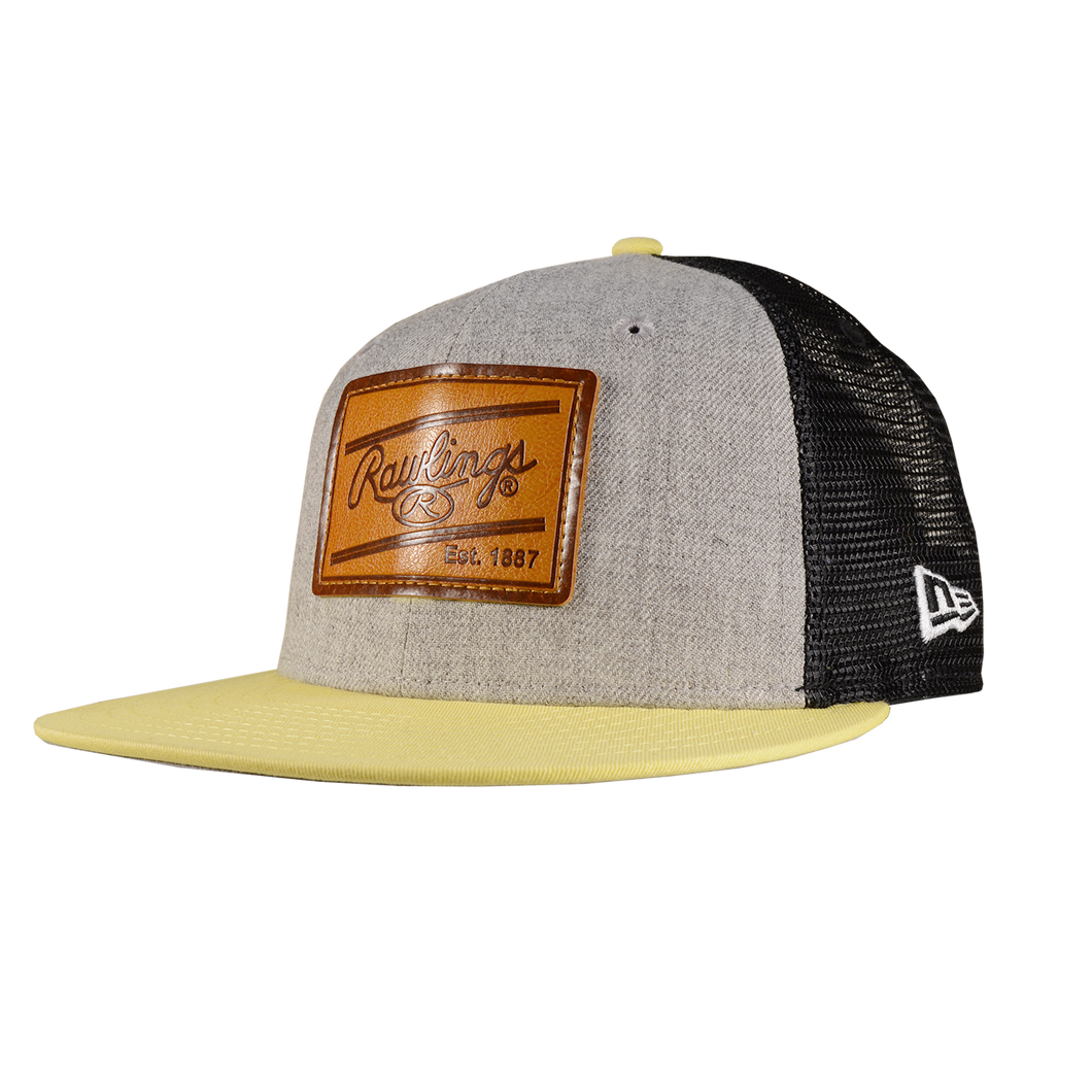 Rawlings Leather Patch Snapback Hat - Grey/Soft Yellow