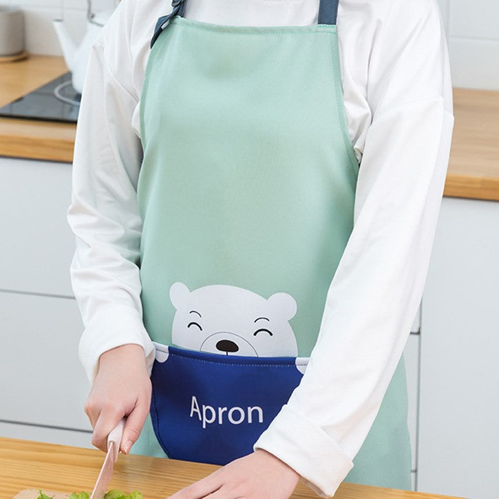 Animal Pattern Waterproof Apron With Pocket & Adjustable Strap