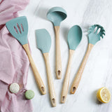 5-Piece Silicone & Natural Wood Cooking Utensil Set With Rotating Stand