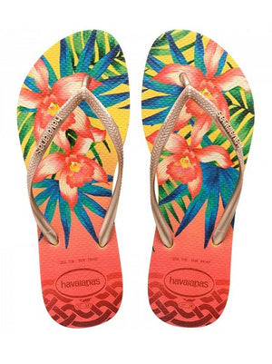 Havaianas Slim Tropical Light Yellow Flip Flops - shaymartian