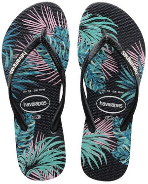 Havaianas Kids Slim Tropical Floral Black Daybreak - shaymartian