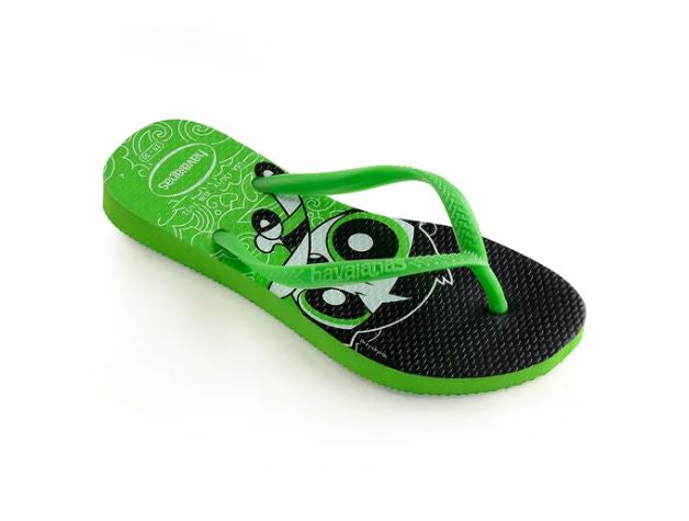 Havaianas Kids Slim Powerpuff Girl Neon Green - shaymartian