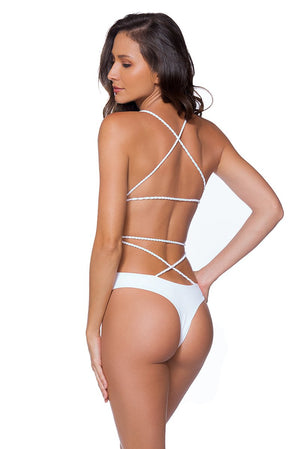 AYRA SWIM CHEEKY PANAMA ONE PIECE WHITE - shaymartian