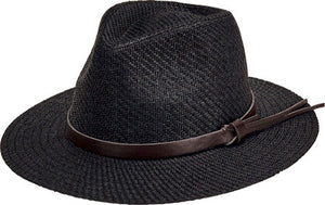 San Diego Mens Cut & Sew Paper Fedora with Faux Leather Band