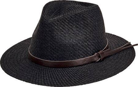 San Diego Mens Cut & Sew Paper Fedora with Faux Leather Band - shaymartian