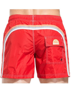 Sundek Mid-Length Fire Red Board Shorts - shaymartian