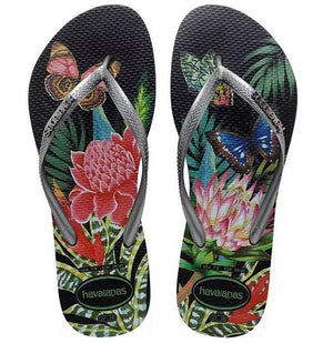 Havaianas Womens Slim Tropical Black Grey - shaymartian