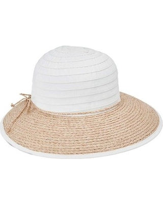 San Diego Women's Ribbon Crown and Raffia Brim
