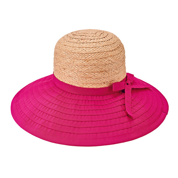 San Diego Women's large brim ribbon hat with raffia crown and adjustable tie
