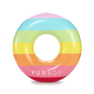 Fun Boy Inflatable Rainbow Tube Float - shaymartian