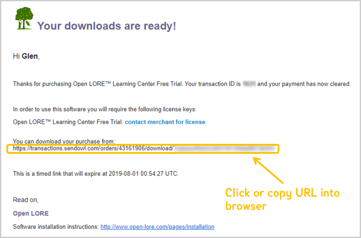 Reading software installation instructions – Open LORE