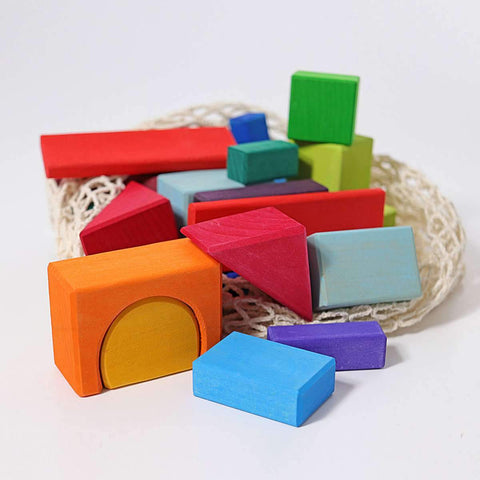 Geometrical Blocks, Multi-Coloured 30pc (Net Bag) (10130)