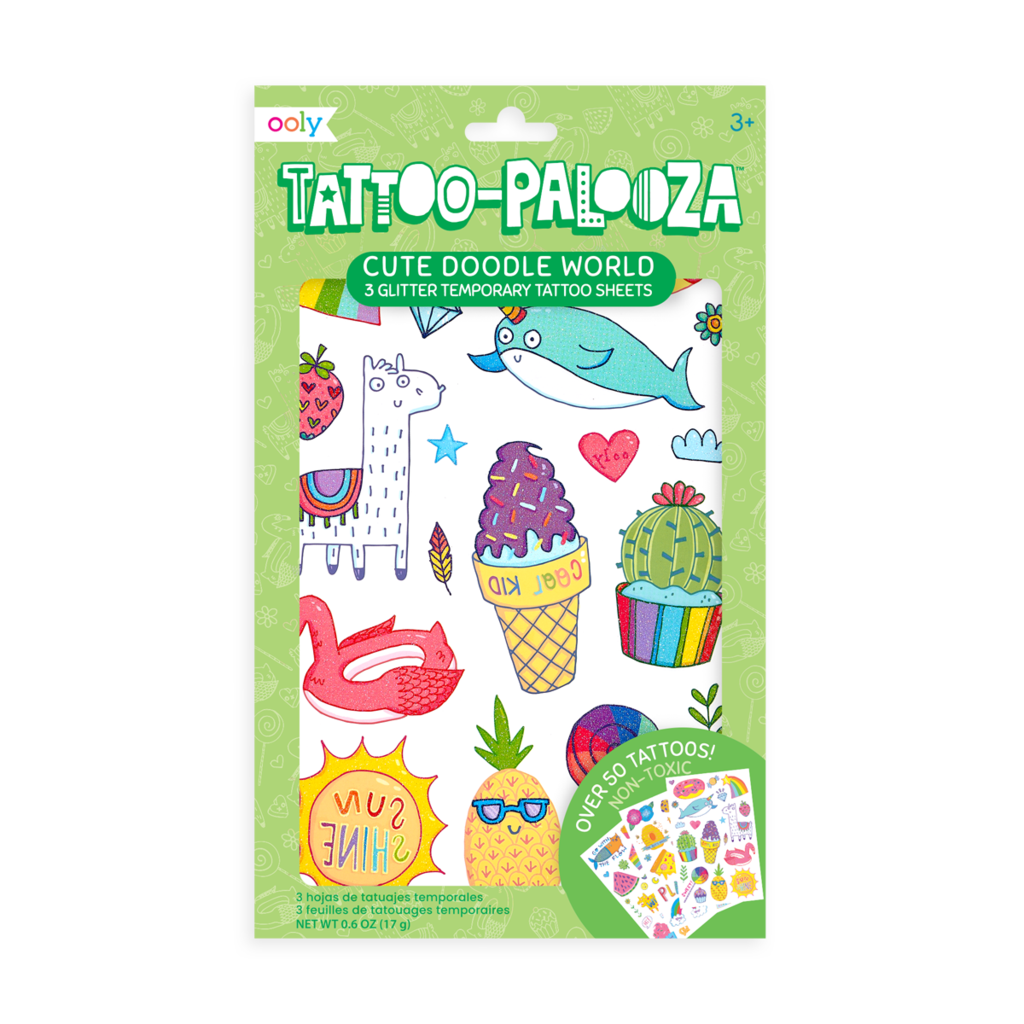 Tattoo Palooza Temporary Tattoo: Cute Doodle World - 3 Sheets
