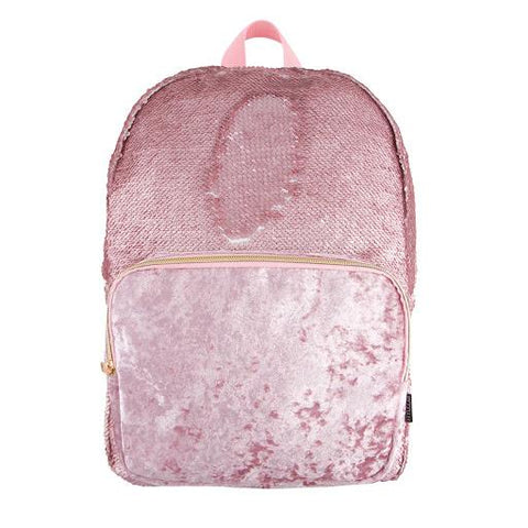 MagicSequin Backpack-Pink Glitter/Velvet Pocket