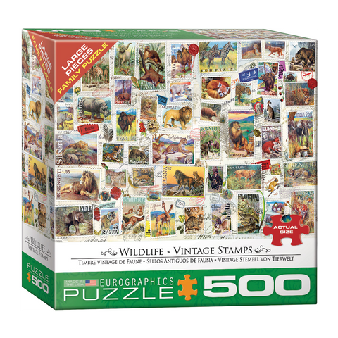 E - Wildlife - Vintage Stamps - 500pc (Large Format) (8500-5358)
