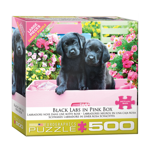 E - Black Labs in Pink Box - 500pc (Large Format) (8500-5462)