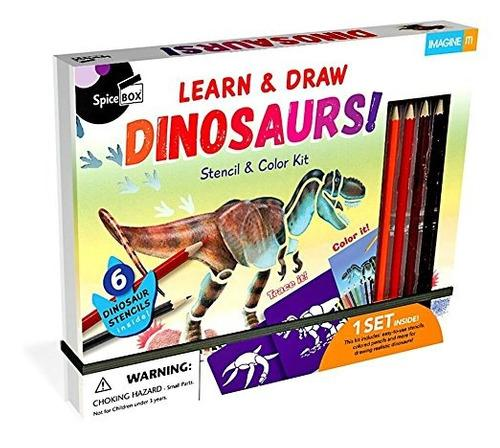 Imagine It: Dinosaur Book & Stencil Set