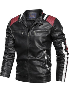 Color-block Paneled Zippers Stand Collar Men's PU Jacket