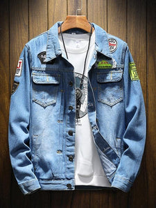 Appliques Men's Blue Denim Jacket