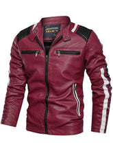 Load image into Gallery viewer, Color-block Paneled Zippers Stand Collar Men's PU Jacket