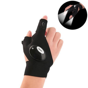 LED Flashlight Fingerless Gloves