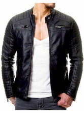 Load image into Gallery viewer, Fashion Men's Stand Collar Zip Stitching PU Jackets