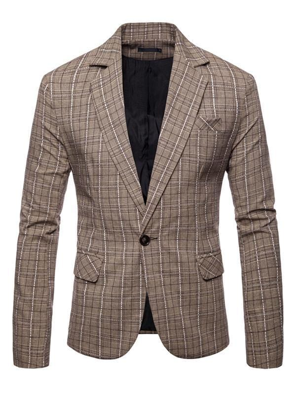 Long Sleeve Leisure Plaid Blazer