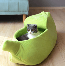 Load image into Gallery viewer, Colorful Plush Banana Peel Cat Bed