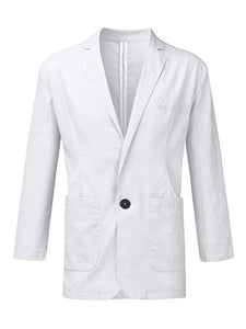 Leisure Solid Linen-blend Suit Coat