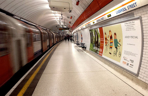 Gallery Exhibition Billboard Ad Featuring Ashely Percival in the London Tube - Liverpool Street.