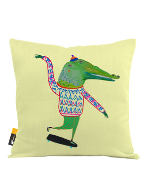 Crocodile Skater Throw Pillow