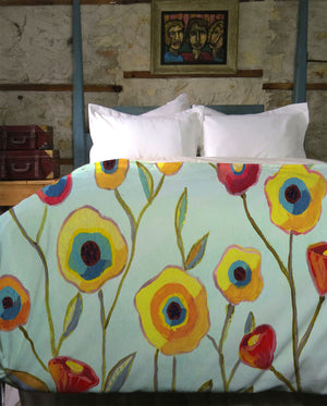 Painted Pansies Duvet Cover