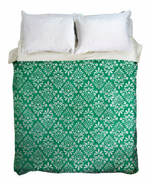 Green Vintage Damask Duvet Cover