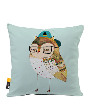 Hipster Owl Faux Suede Throw Pillow