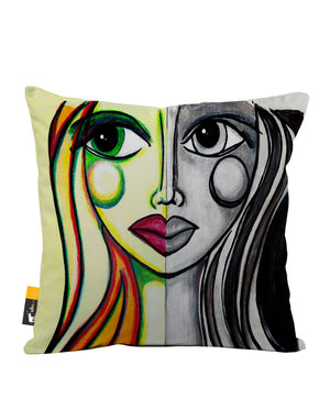Juxtaposition Faux Suede Throw Pillow