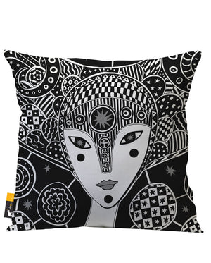 Black Artsy Patio Pillow