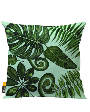 Bohemian Palm Leaves in green Outdoor Throw Pillow